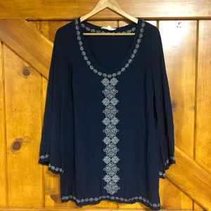 Navy blue embroidered tunic/dress